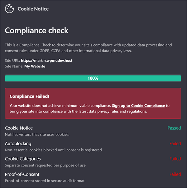 Cookie notice compliance check