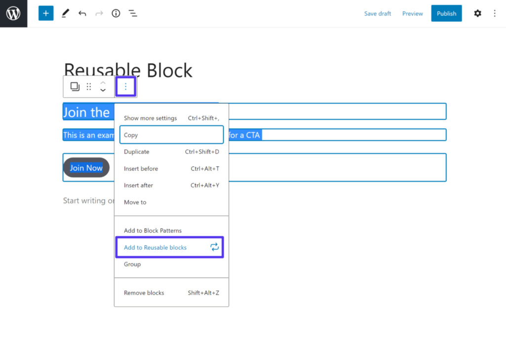 How to create your own reusable block