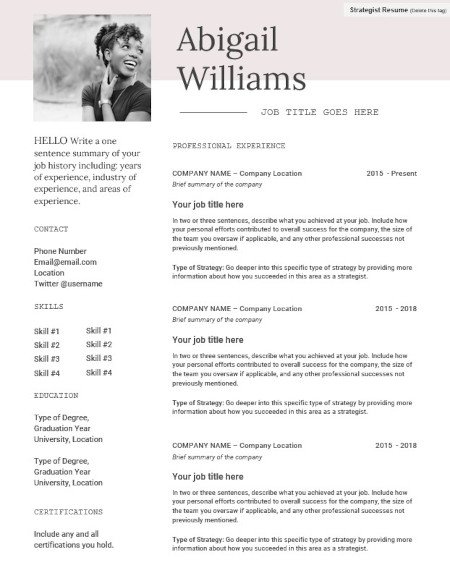 marketing resume template with great formatting