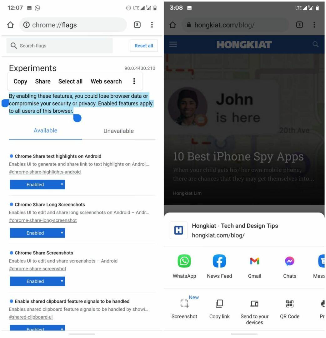 Custom Screenshot tool of Chrome on Android