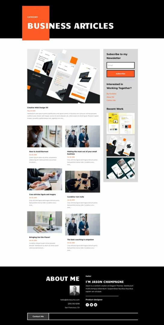 creative cv category page template for Divi