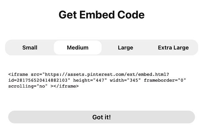 Generated embed code for a pin on Pinterest