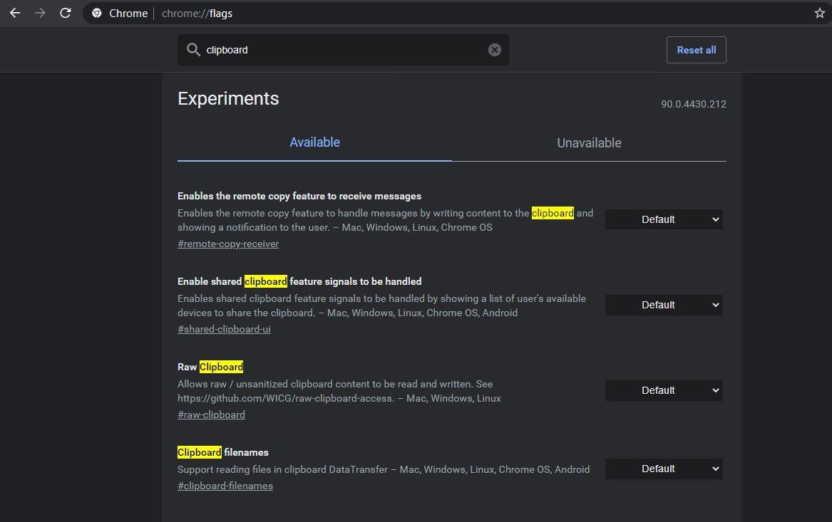 Experimental flag options in Google Chrome