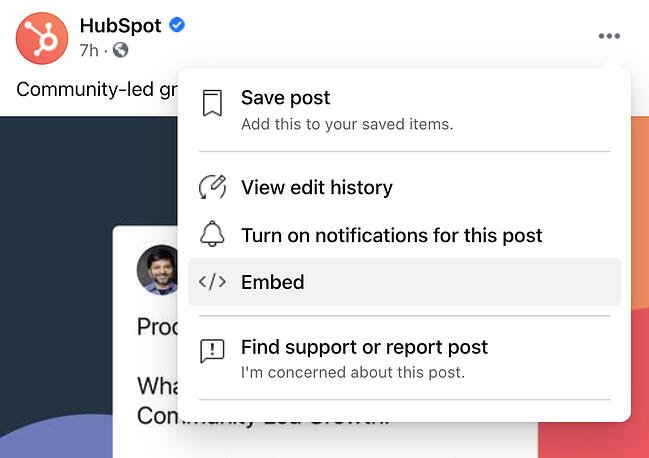 Embed code button on a Facebook post