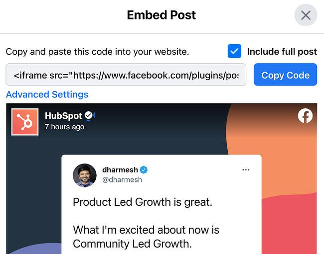 Embed code options on a Facebook post