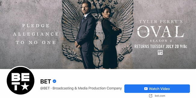 Facebook Page cover from BET's FB Page