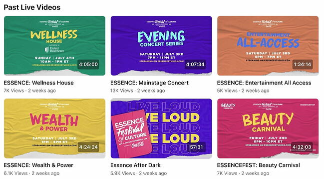 Facebook Page live video library from Essence's FB Page