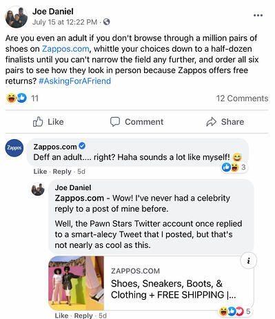 Facebook Page post from Zappos' FB Page