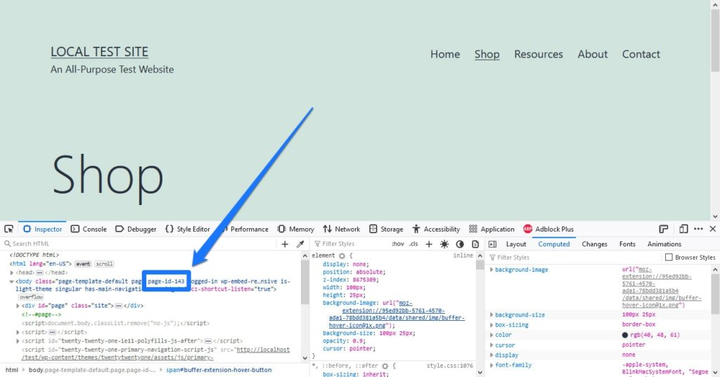 find page id to hide elements in css