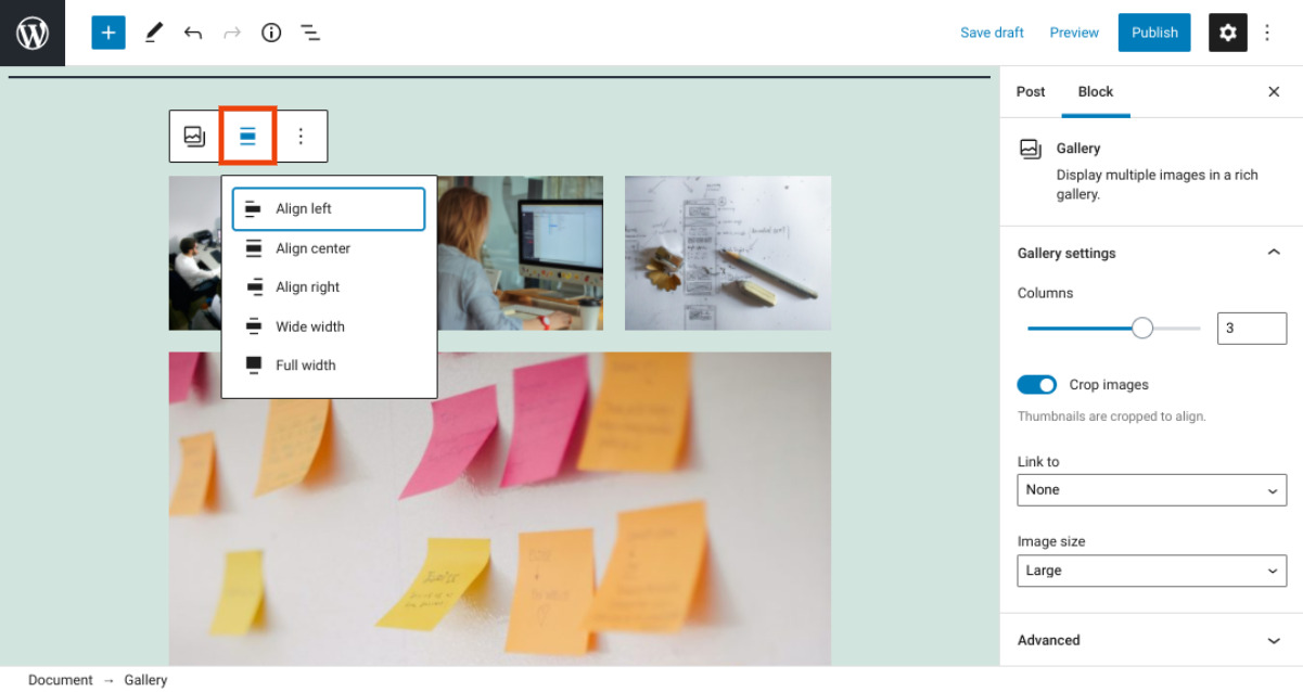 The alignment options for the WordPress Gallery block.