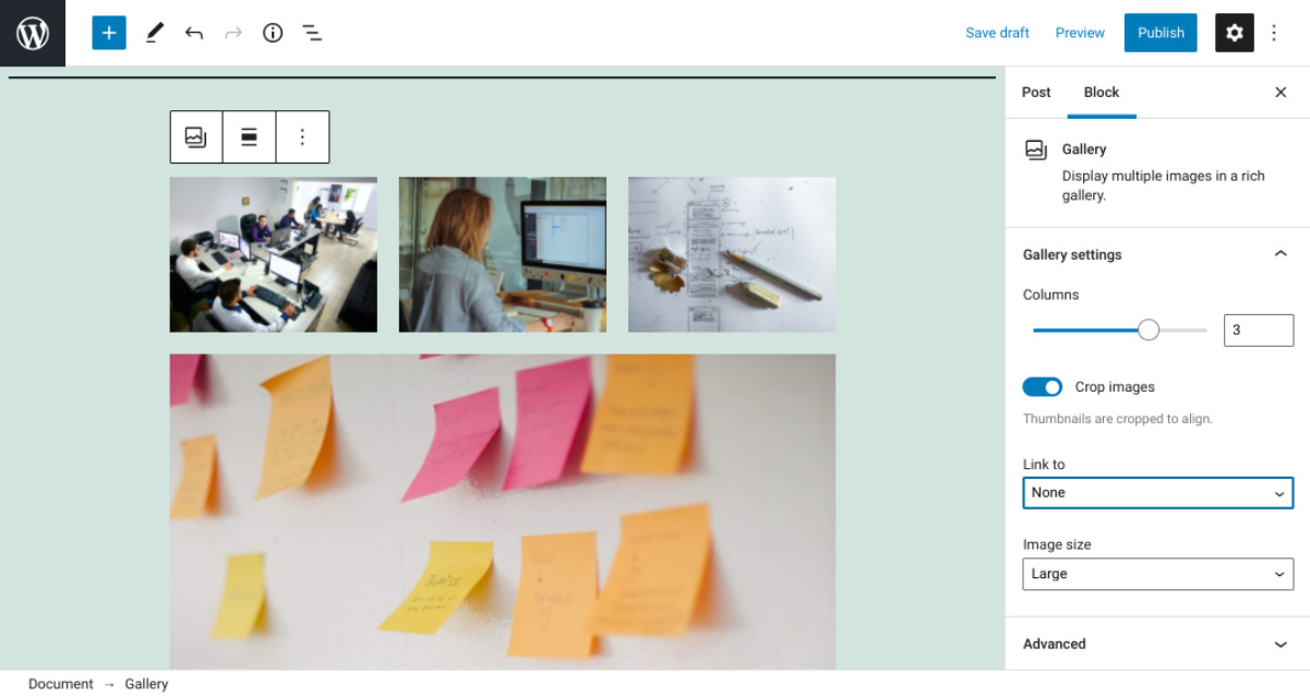 An example of a WordPress Gallery block.