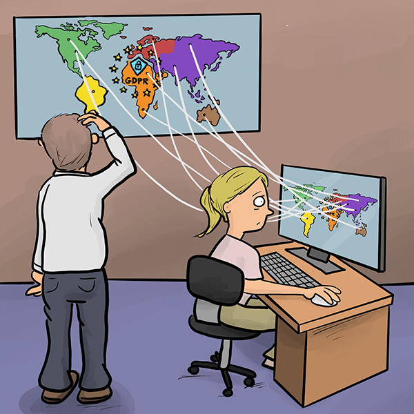 Cartoon of business people staring at world maps on their wall and computer screen and feeling confused by the ramifications of the GDPR.