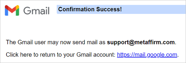 Gmail email account confirmed.
