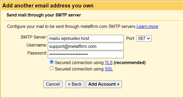 Gmail - SMTP server details.