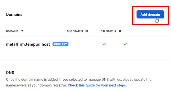 Hub - Add domain