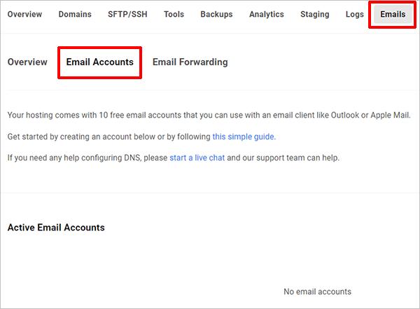 Hub - email accounts screen.