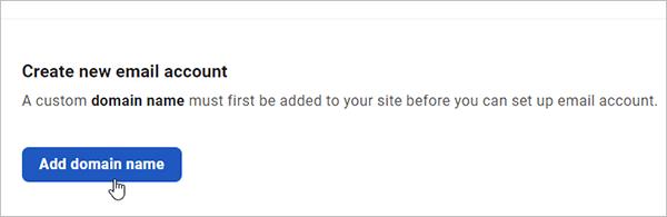 Hub - Email accounts - add domain name.