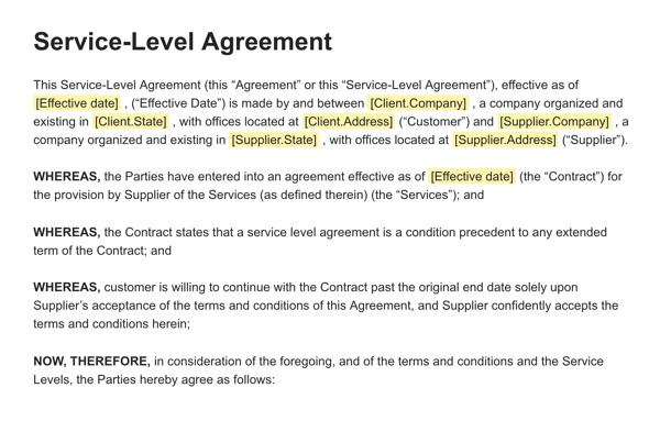 Service-Level Agreement Example: PandaDoc SLA template