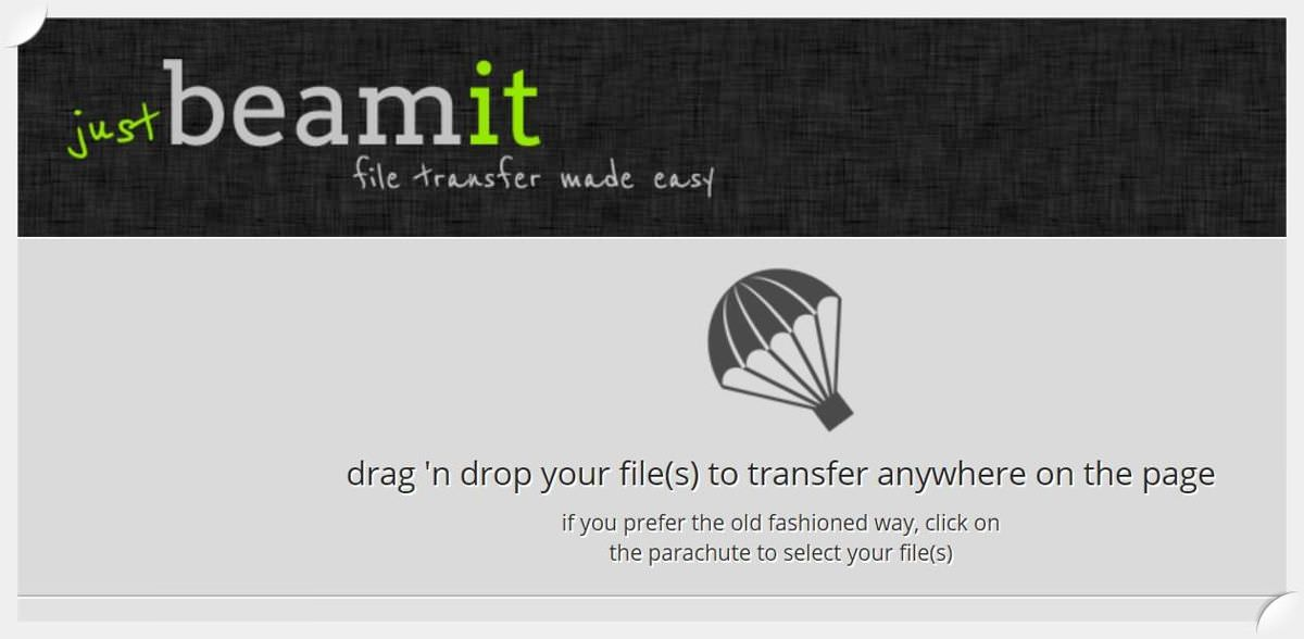 JustBeamIt is a web-based peer-to-peer transfer service