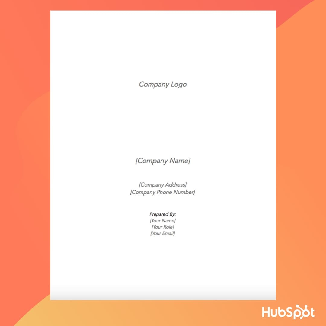 Business Plan Template: Cover Page