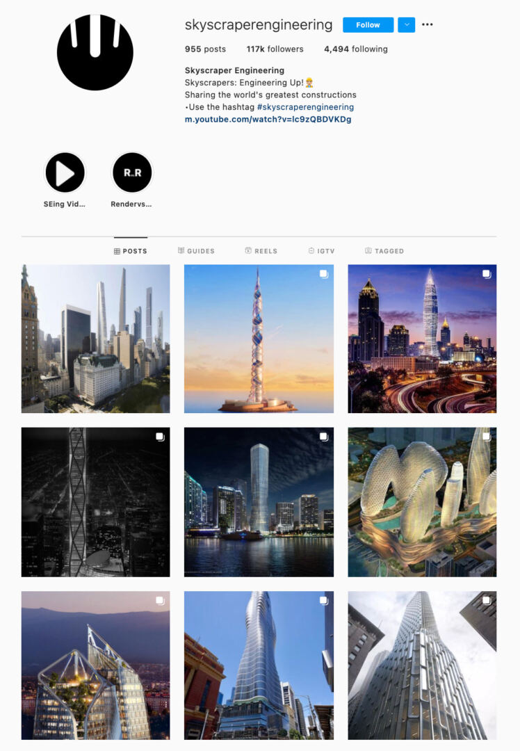 Structural Lines Instagram Theme Example