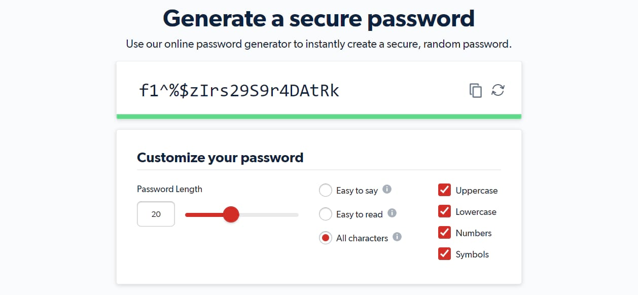 A screenshot of the LastPass platform showing a randomly generated password