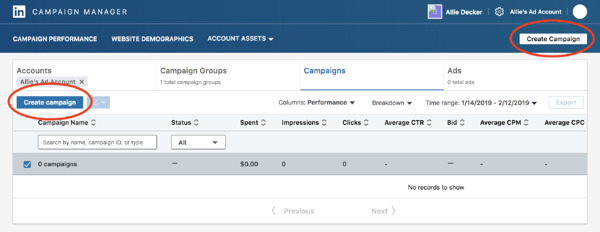 start setting up your campaign in linkedin's ad campaign manager