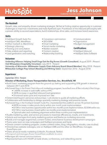 Marketing Resume Example: Jess Johnson Page 1