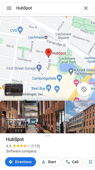 mobile website design: google map search result