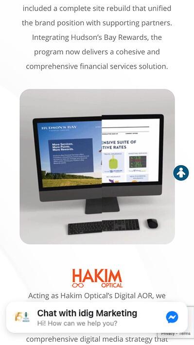 mobile website design: idig marketing homepage
