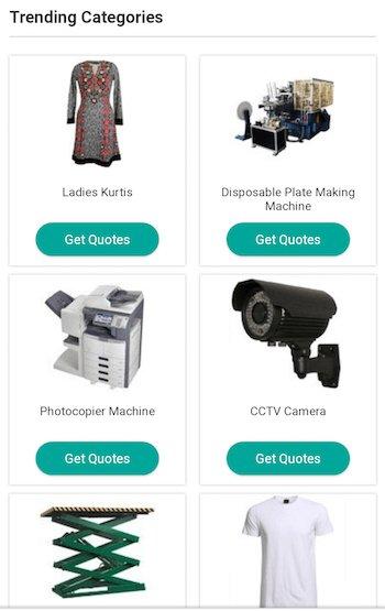 mobile website design: indiamart product listing