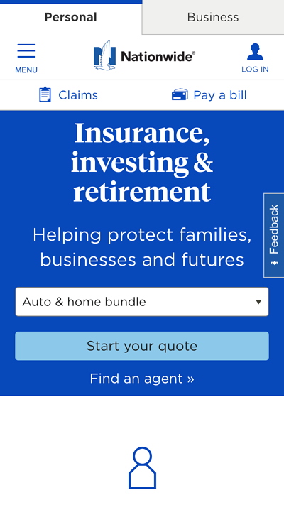 mobile website design: nationwide homepage