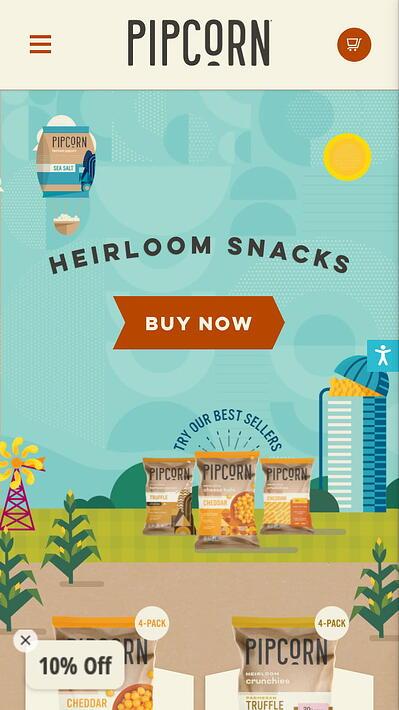 mobile website design: pipcorn homepage