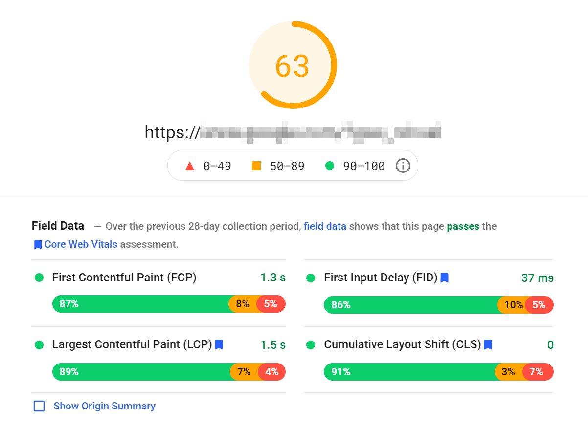 PageSpeed Insights CLS score