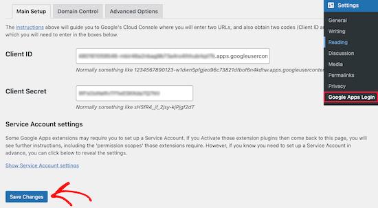 Enter client ID and client secret ID