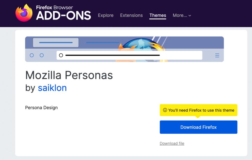 A screenshot of Mozilla Personas' homepage