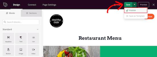 Publish menu live