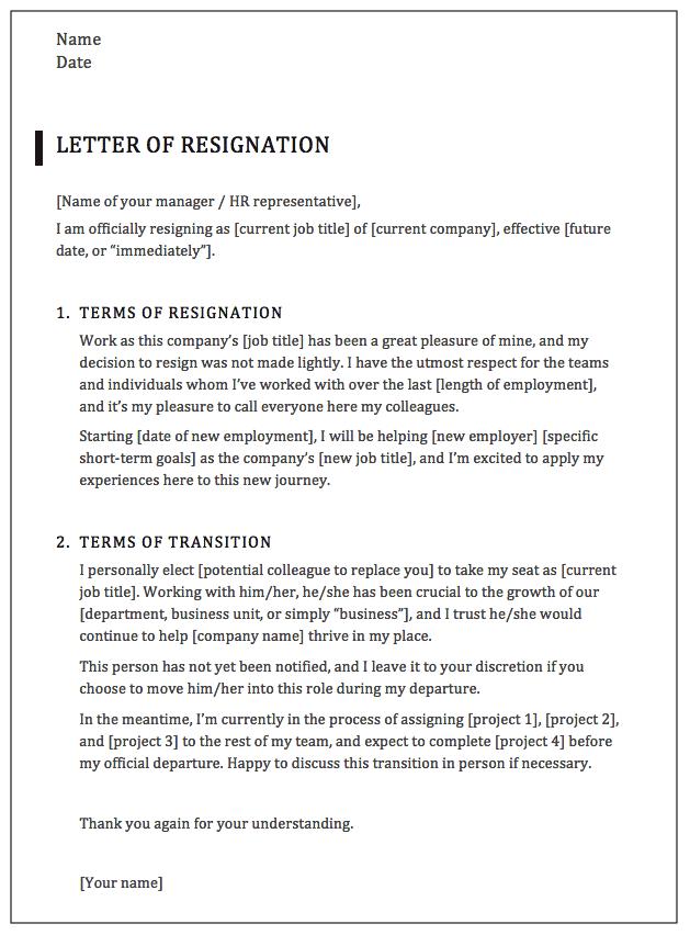 Executive Resignation Letter Template