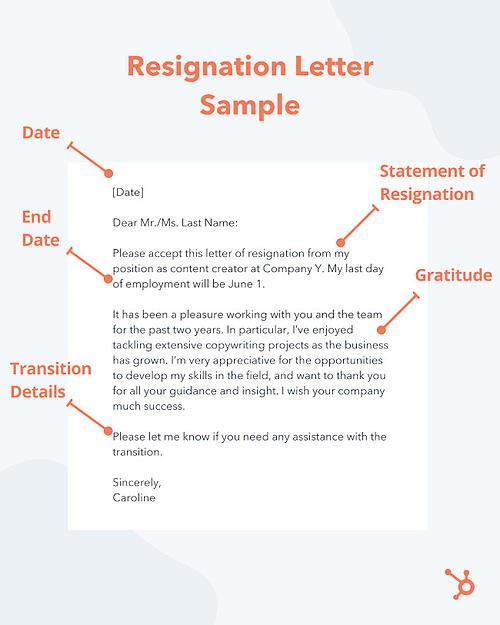 brief resignation letter sample