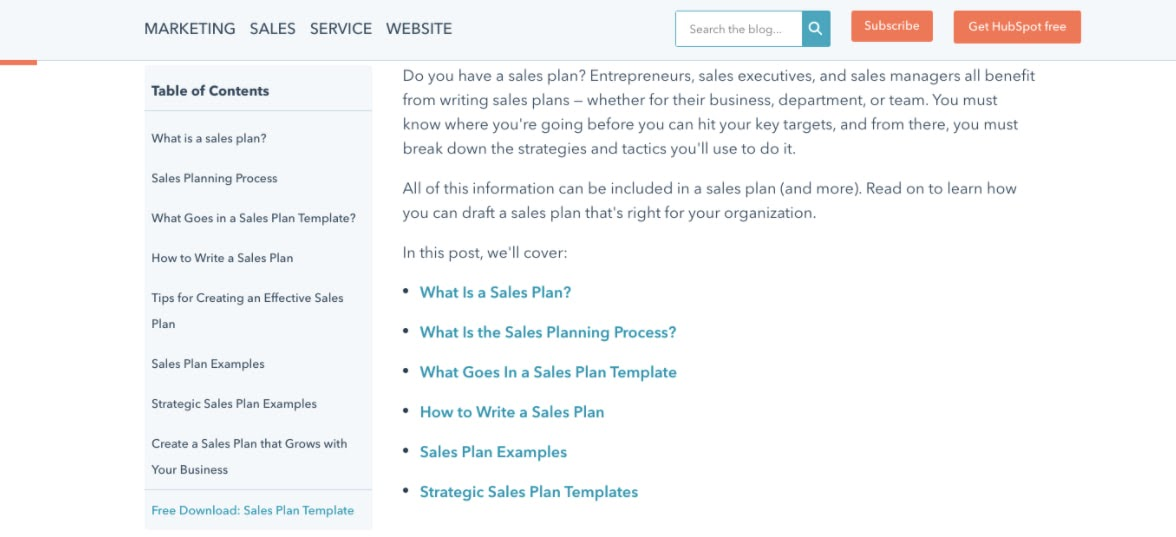 variant B of the hubspot blog chapter module AB test