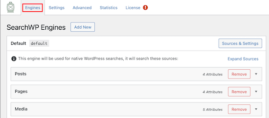 SearchWP engines settings