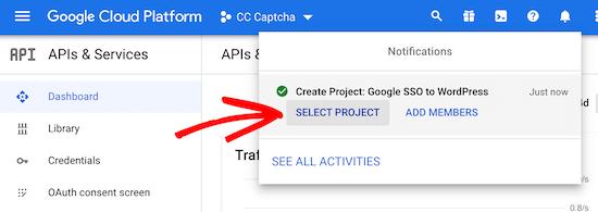 Notifications menu open new project