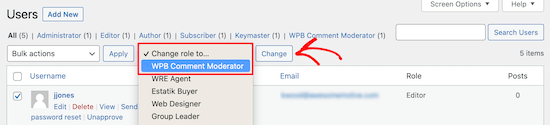 Select WPB Comment Moderator role