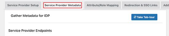 Click service provider metadata menu