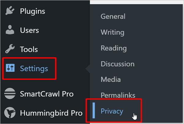 WordPress Menu - Settings - Privacy