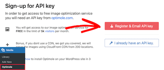 Sign up for API key