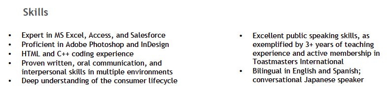 Skills section on a resume
