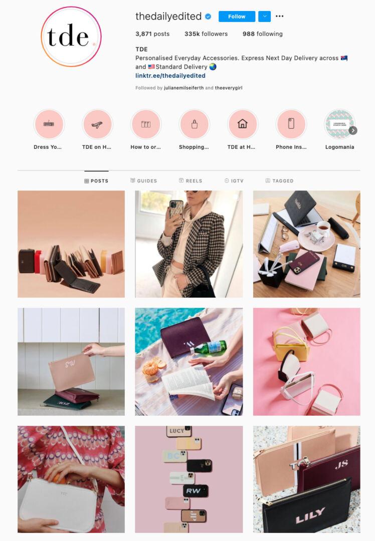 Flatlays Instagram Theme Example