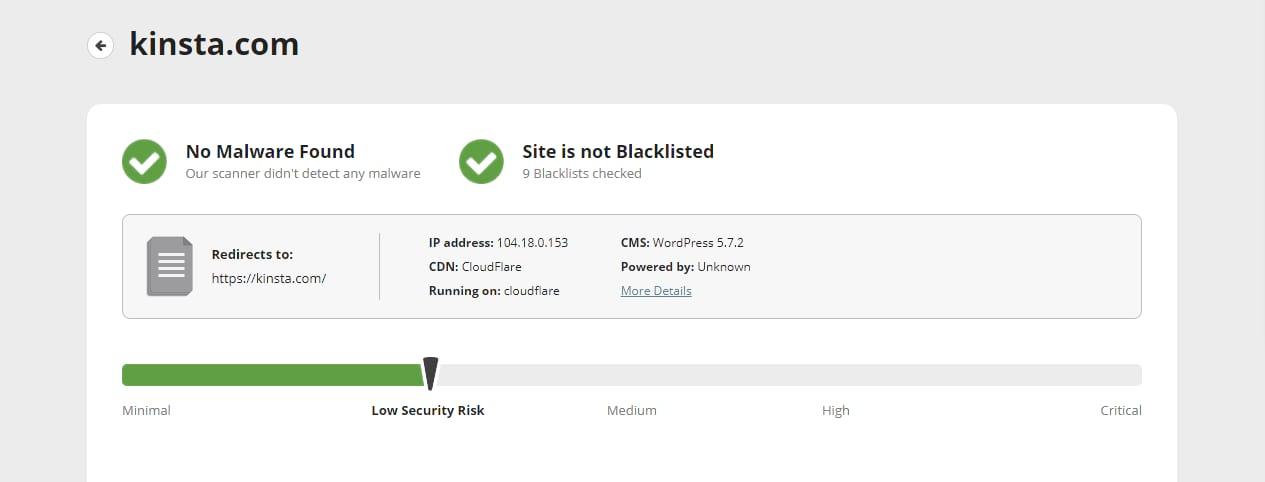 """Screenshot of a Sucuri scan of the Kinsta.com website showing """"No Malware Found"""""""