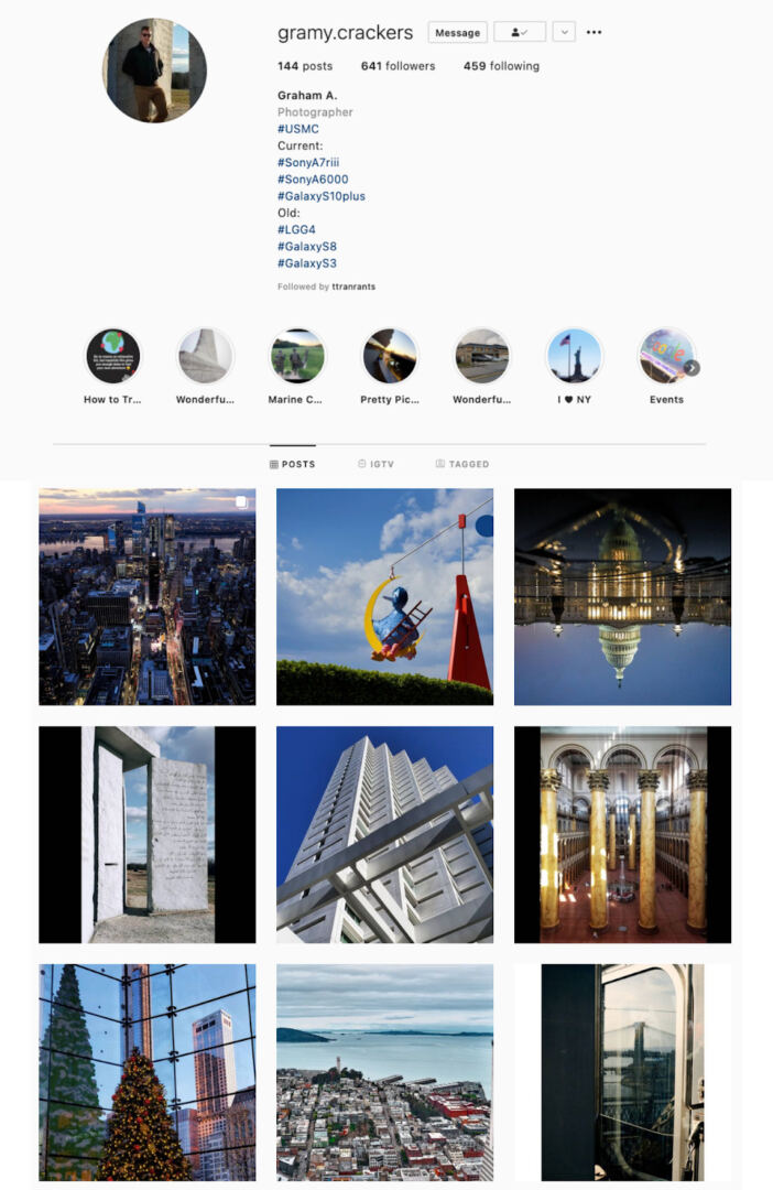 Unique Angles Instagram Theme Example